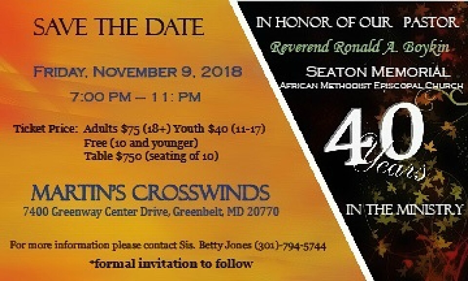 Pastor 40 Years In The Ministry - Save The Date